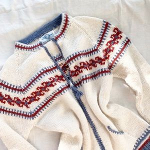 Vintage Alpaca Wool Fair Isle Zip Up Sweater M
